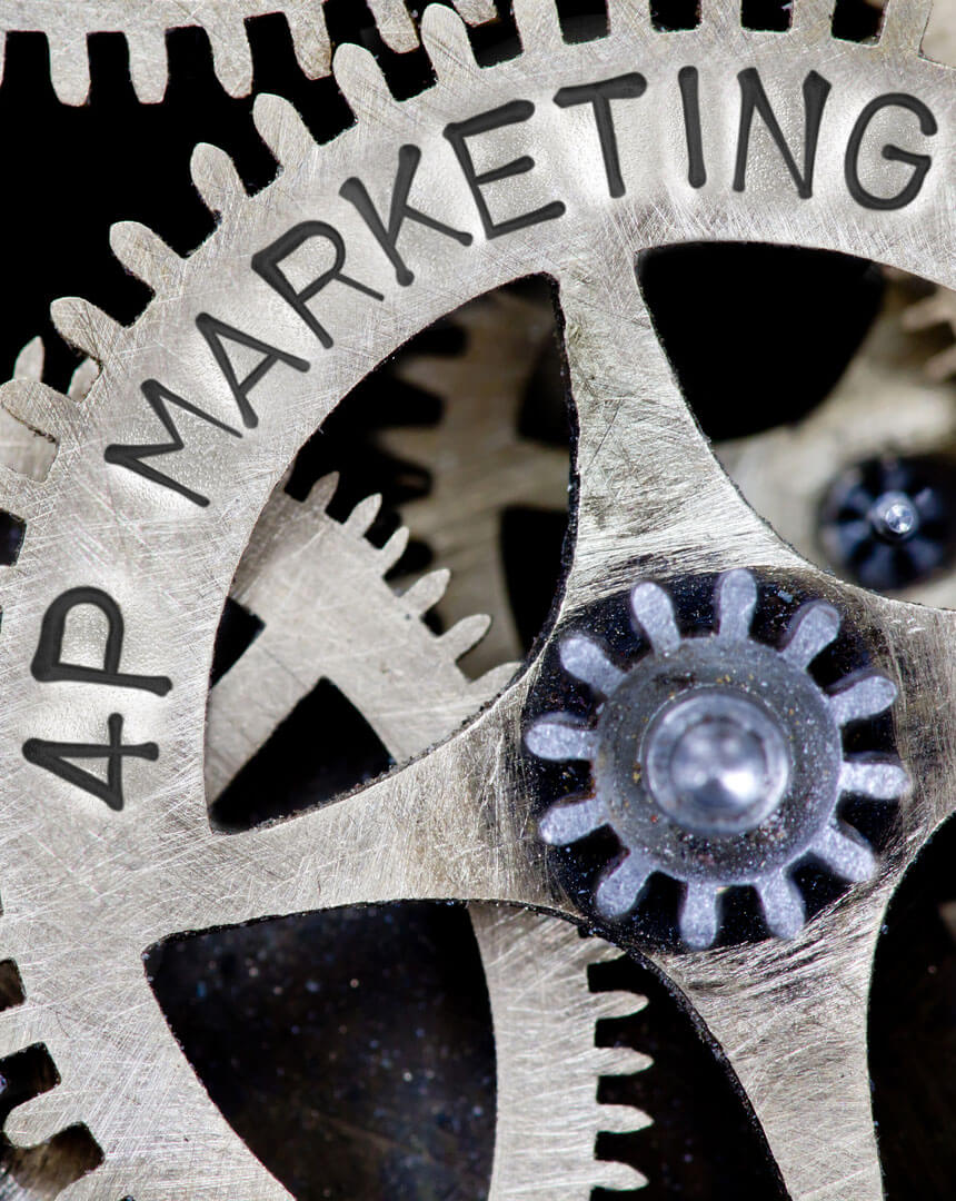 Fier punkte des Marketing greifen ineinander