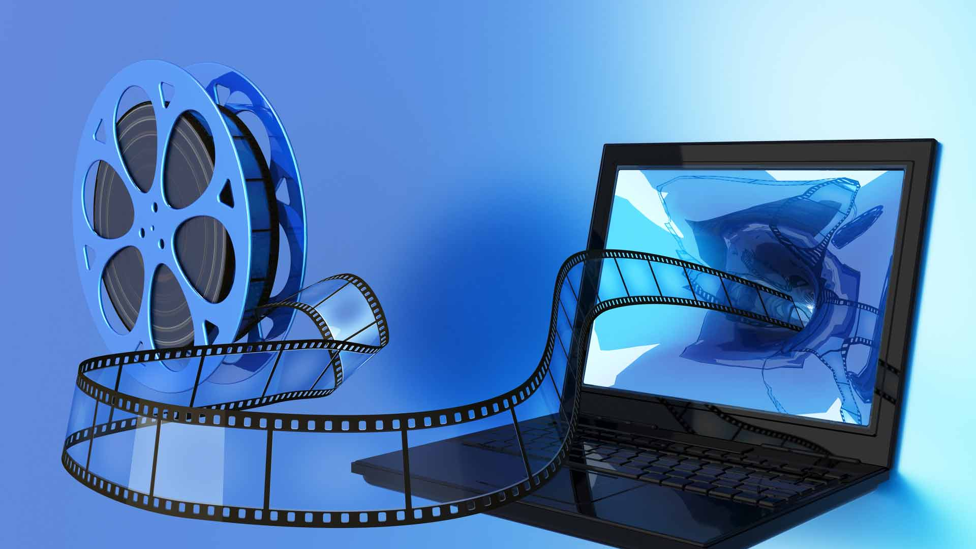 web-Video mit Filmrolle und Laptop